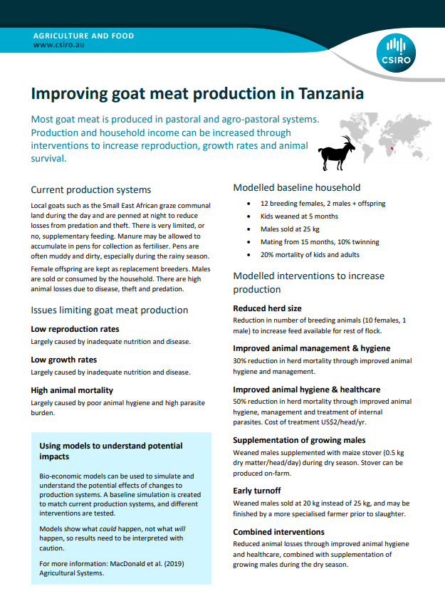 Improving goat production in Tanzania